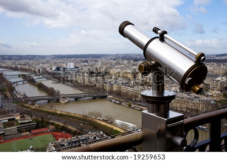 Beautiful view of Paris from The Eiffel Tower, travel telescope - stock photo