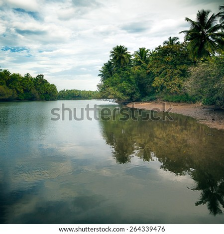 Beautiful view of peaceful lake surrounded by forest in Karnataka - stock photo