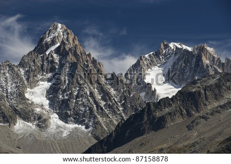 Beautiful view of peaks Chardonnet and Argentiere in French Alps. The picture was taken from mountains on the other side of Chamonix valley, somewhere close to the lake Blanc.