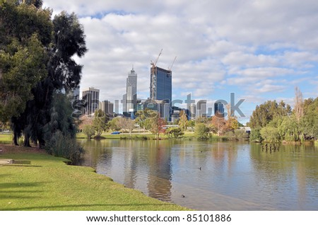 Beautiful View of Perth Financial District on a Cloudy Winter Day