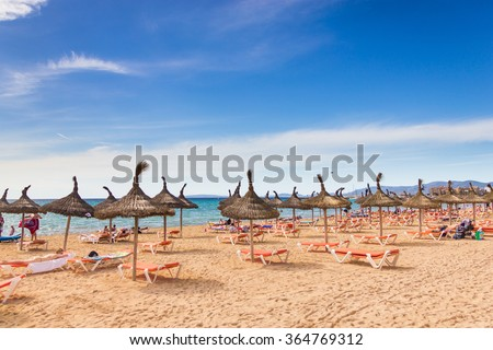 Beautiful view of Platja de Palma de Mallorca, Baleares, Spain - stock photo