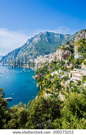 Beautiful view of Positano and other villages on the southern Amalfi Coast, Italy, from a high vantage point - stock photo
