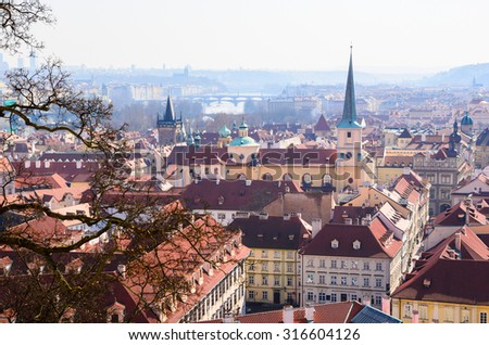 beautiful view of Prague old town roofs, Czech Republic - stock photo