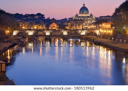 Beautiful view of Rome, Italy, at dusk - stock photo