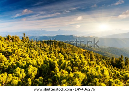 Beautiful view of rural alpine landscape. Overcast sky before storm. Carpathian, Ukraine, Europe. Beauty world.