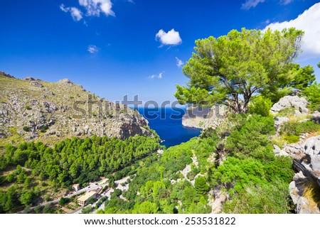 Beautiful view of Sa Calobra on Mallorca Island, Spain - stock photo