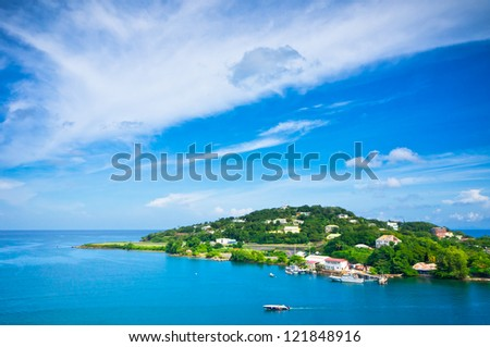 Beautiful view of Saint Lucia, Caribbean Islands - stock photo