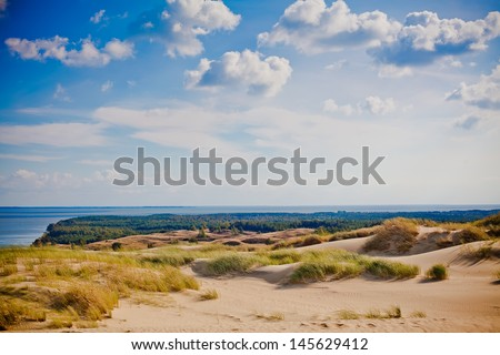 beautiful view of sandy Grey Dunes at the Curonian Spit in Nida, Neringa, Lithuania - stock photo