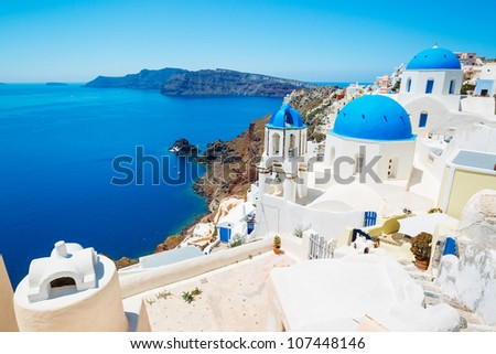 Beautiful View of Santorini Island, View of ocean caldera with churches - stock photo