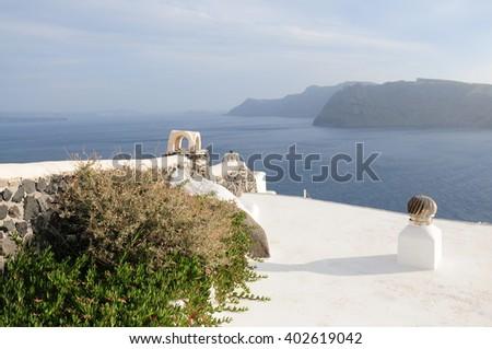 Beautiful View of Santorini Island, View of ocean caldera with churches - stock photo