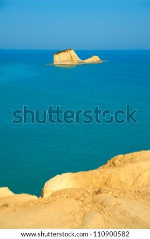 Beautiful view of sea with rock at Canal d' Amore, Sidari - stock photo