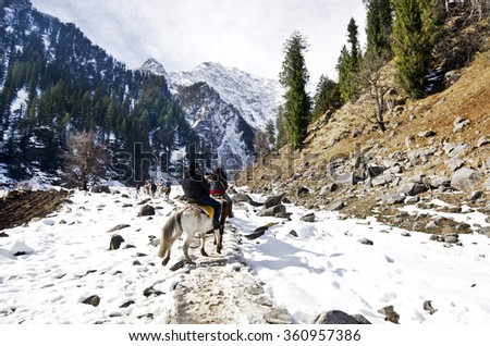 Beautiful view of solang valley - stock photo