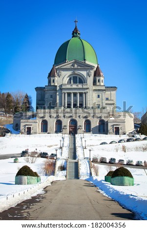 Beautiful view of St-Joseph's Oratory during winter - stock photo