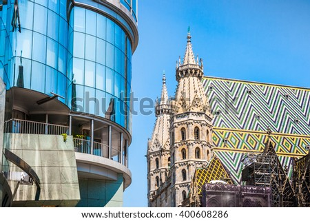 Beautiful view of St. Stephen's Cathedral at Stephansplatz in Vienna, Austria - stock photo