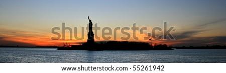Beautiful view of Statue of Liberty New York - stock photo
