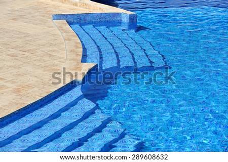 Beautiful view of swimming pool of luxury hotel - stock photo
