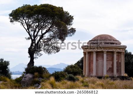 Beautiful view of Temple in Palermo, Monte Pellegrino - stock photo