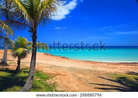 Beautiful view of the Atlantic Ocean, Varadero, Cuba - stock photo
