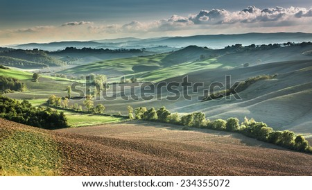 Beautiful view of the autumn landscape in Tuscany, Italy - stock photo