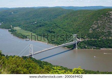 Beautiful view of the bridge from the top of Bear Mountain. - stock photo