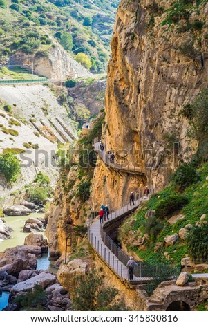 Beautiful view of the Caminito Del Rey mountains and path along steep cliffs and rocks in Spain