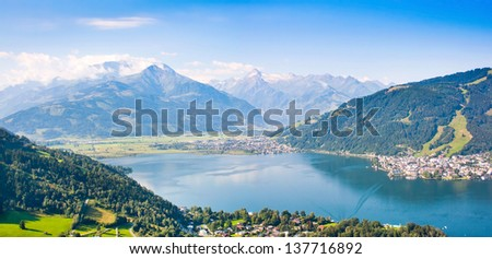 Beautiful view of the city of Zell am See with Zeller Lake in Salzburger Land, Austria - stock photo
