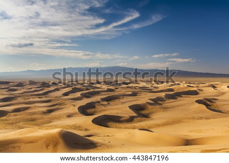 Beautiful view of the dunes of the Gobi Desert. Mongolia.
