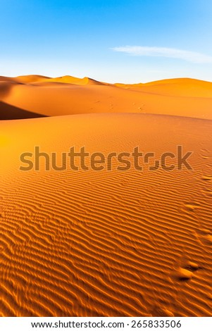 Beautiful view of the Erg Chebbi Dunes in the Sahara Desert, Morocco