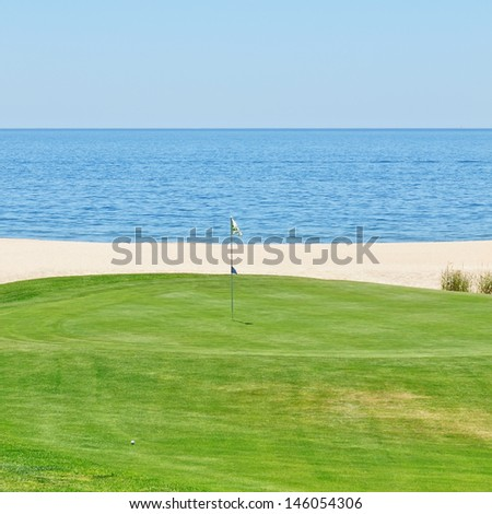 Beautiful view of the golf course to the sea. Portugal, Algarve.