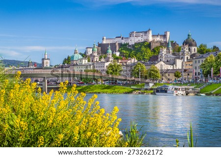 Beautiful view of the historic city of Salzburg with river Salzach in springtime, Salzburg Land, Austria - stock photo