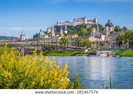 Beautiful view of the historic city of Salzburg with river Salzach in springtime, Salzburg Land, Austria - stock photo