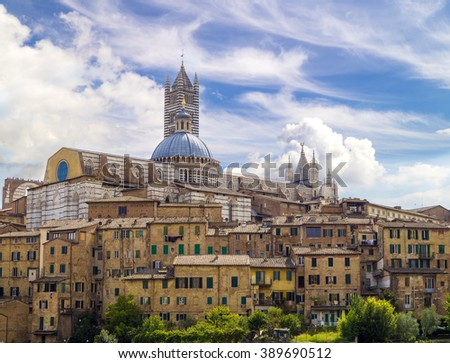 Beautiful view of the historic city of Siena, Italy - stock photo