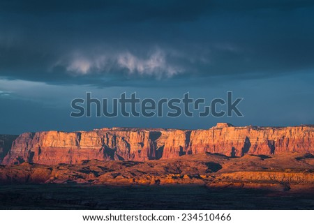 beautiful view of the landscape early morning in Page Arizona with a cloudy sky - stock photo