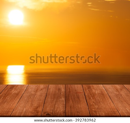 Beautiful view of the Mediterranean Sea over old wooden table or board. Collage. Selective Focus. - stock photo