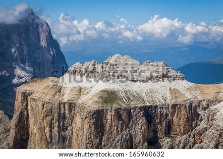 Beautiful view of the mountain peaks. - stock photo