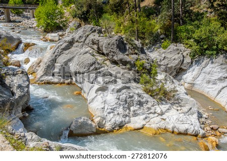 Beautiful view of the mountain river in Turkey - stock photo