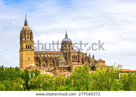Beautiful view of The New Cathedral of Salamanca, Castilla y Leon, Spain - stock photo