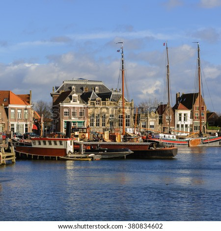 Beautiful view of the Old Port of Enkhuizen, The Netherlands - stock photo