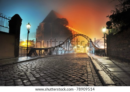 Beautiful view of the old town bridge at night - stock photo