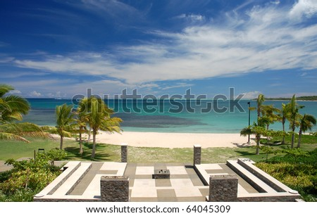 Beautiful view of the Pacific from the Intercontinental Resort in Natadola, Fiji - stock photo