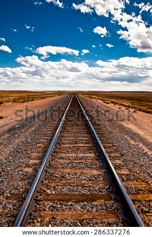 Beautiful view of the railroad tracks, to infinity
