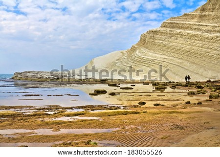 Beautiful view of the Scala dei Turchi, Sicily, Italy
