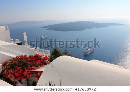 Beautiful view of the sea and the island of Greece, Santorini.