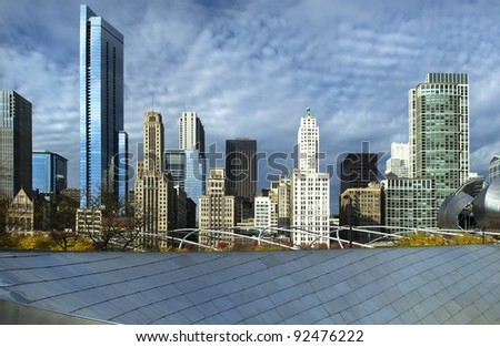 beautiful view of the skyscrapers of Chicago - stock photo