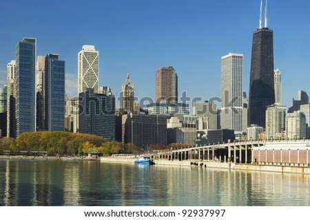 beautiful view of the skyscrapers of Chicago