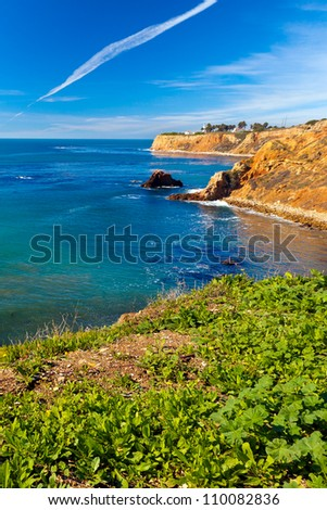 Beautiful view of the sparkling blue Pacific Ocean from the cliffs of the Palos Verdes Peninsula in southern California - stock photo