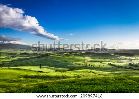 Beautiful view of the sunset over the green valley - stock photo