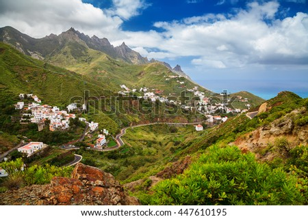 beautiful view of the Taganana village in Anaga mountains, Tenerife, Canary Islands