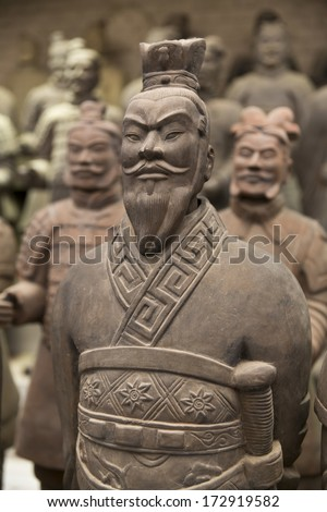 Beautiful view of the terracotta army in Xian, China - stock photo