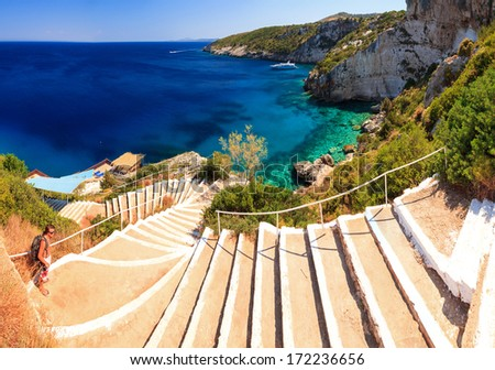 Beautiful view of the the stairs to the sea at the blue caves on the island Zakynthos - stock photo